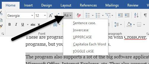 Turn Caps Lock Text back to Normal in MS Word