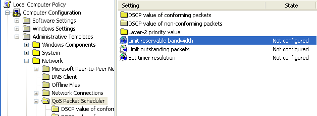 How to Change the Limit Reservable Bandwidth in Windows