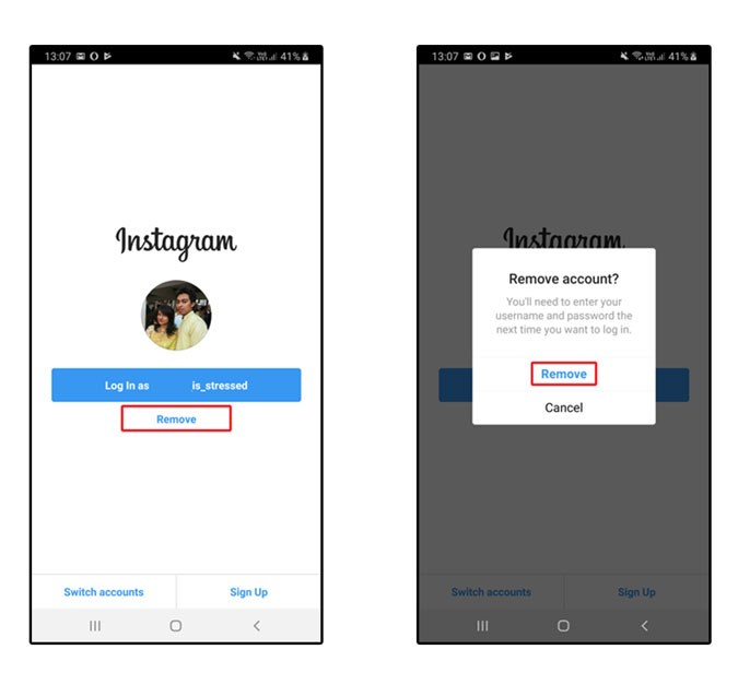 How to Remove Saved Login Info on Instagram iOS App?