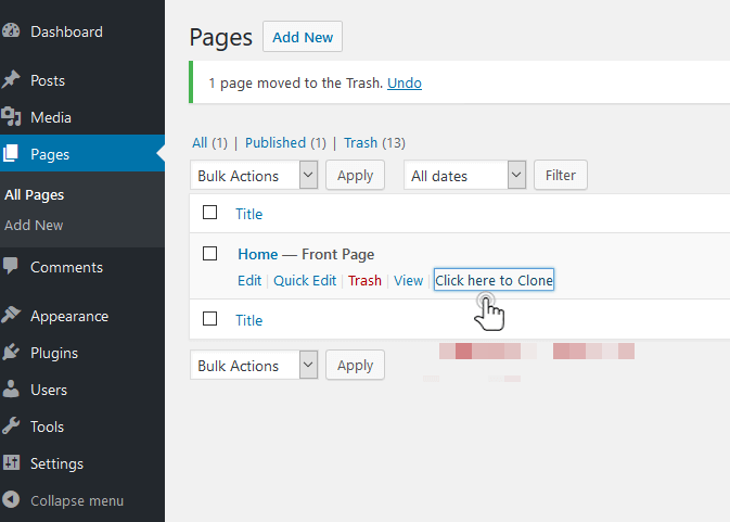 how to check duplicate a page in wordpress