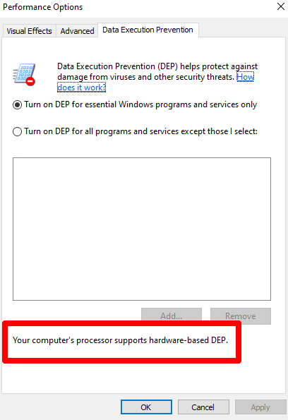 What prevents data processing in Windows 10?